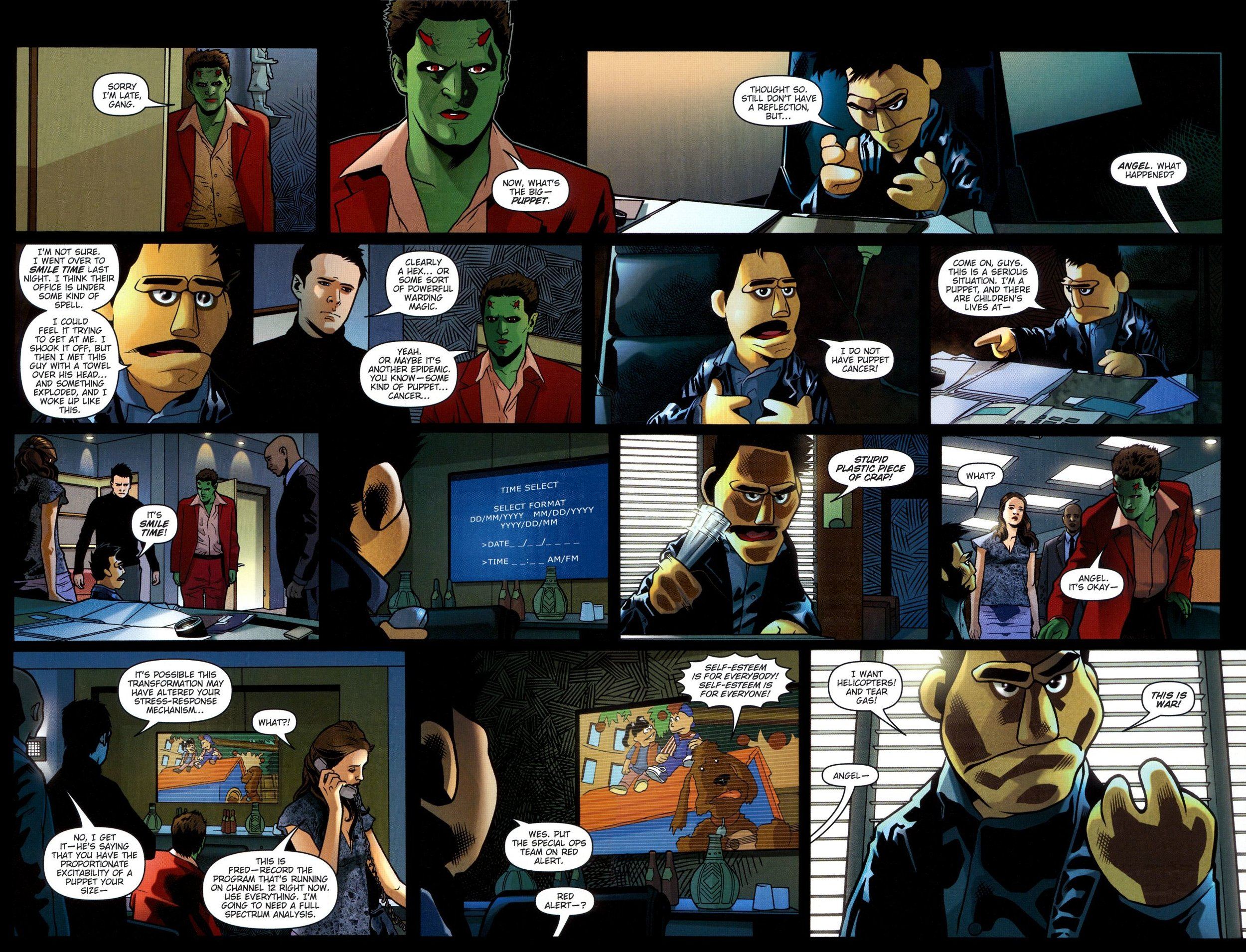 Demons, puppets, and talking dogs from Angel: Smile Time (2008) #2.