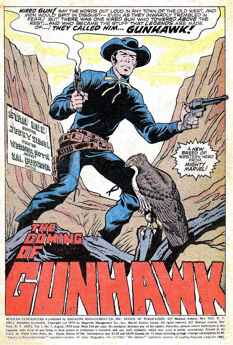 Western Gunfighters (1970) #1 pg1, penciled by Werner Roth & inked by Sal Buscema.