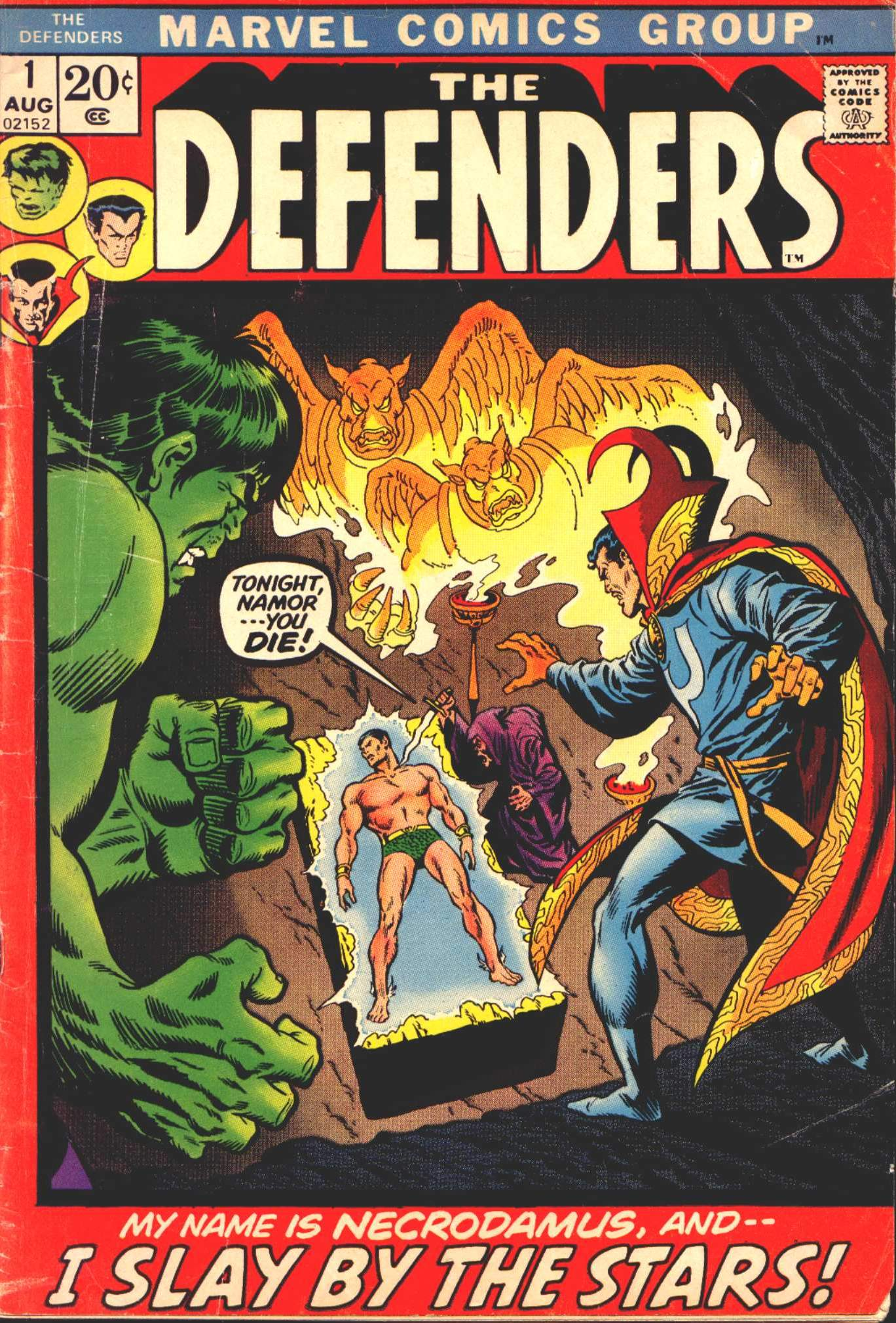 Defenders (1972) #1, cover penciled by Sal Buscema & inked by Jim Mooney.