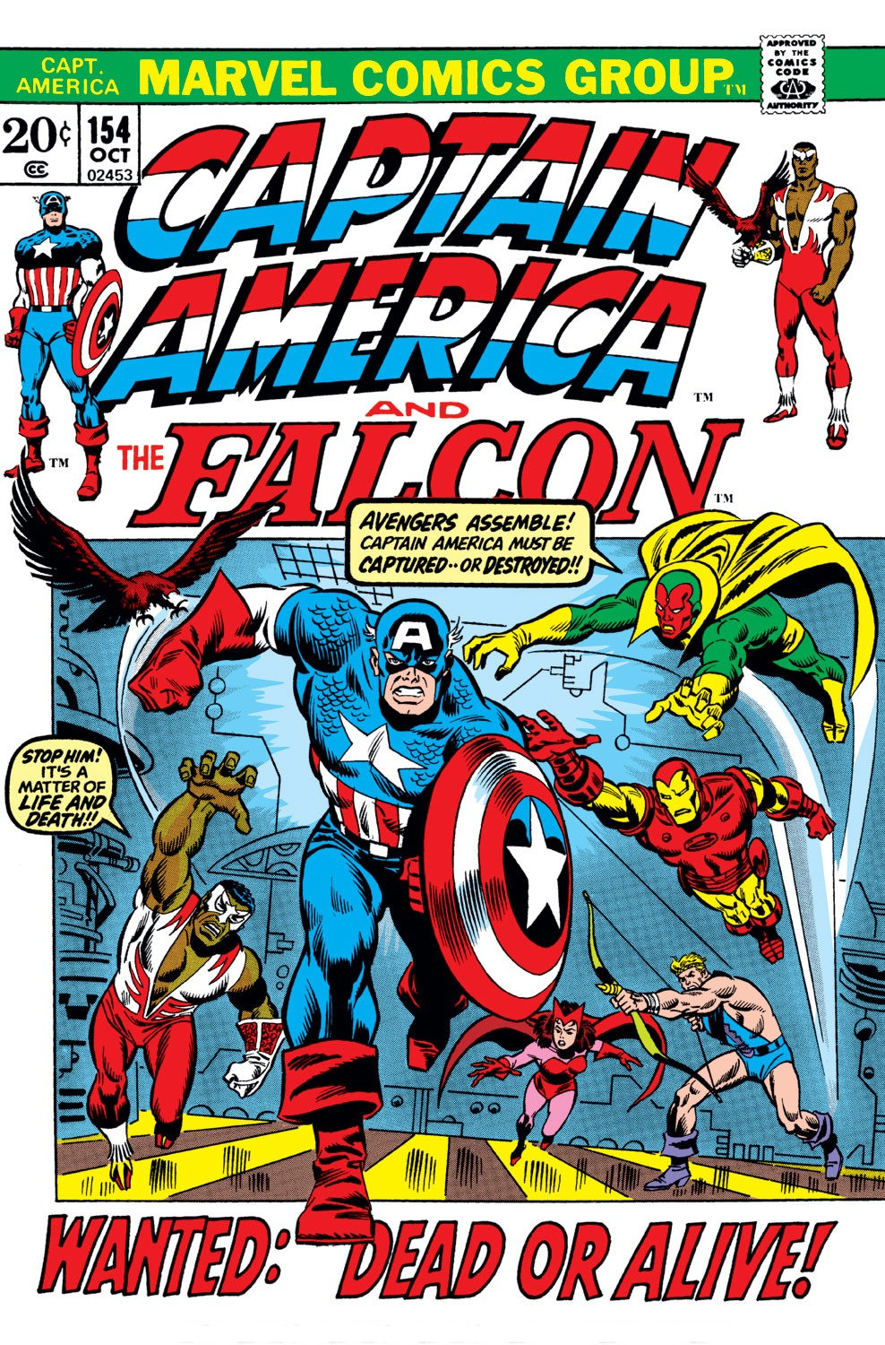 Captain America (1968) #154, cover penciled by Sal Buscema & inked by Frank Giacoia.