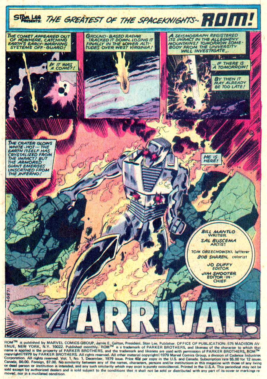 ROM (1979) #1 pg1, art by Sal Buscema.