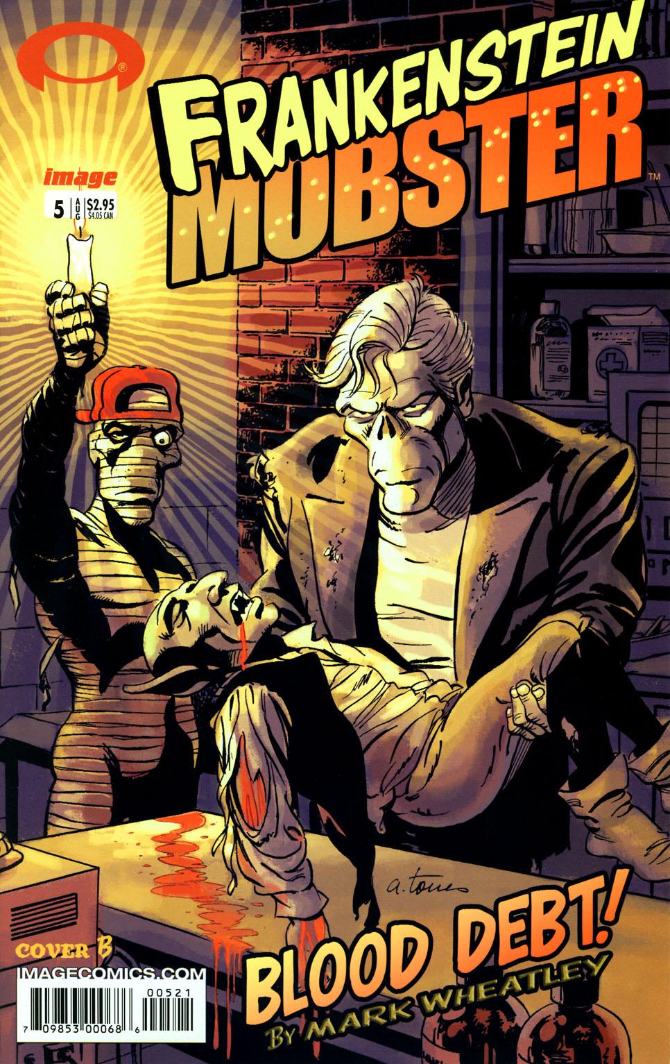 Frankenstein Mobster (2003) 5B, cover by Angelo Torres.
