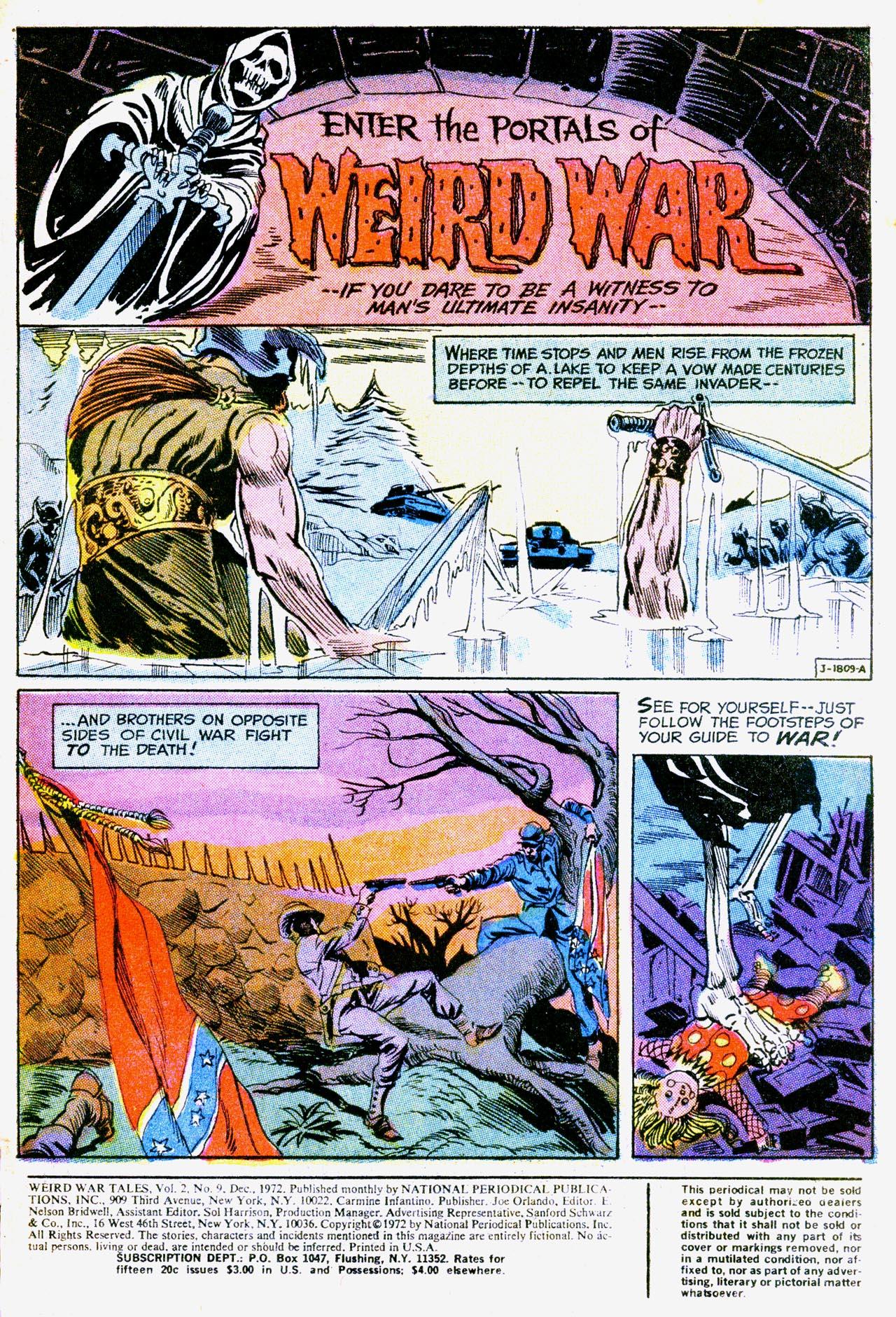 Weird War Tales (1971) #9 pg1, art by Howard Chaykin.