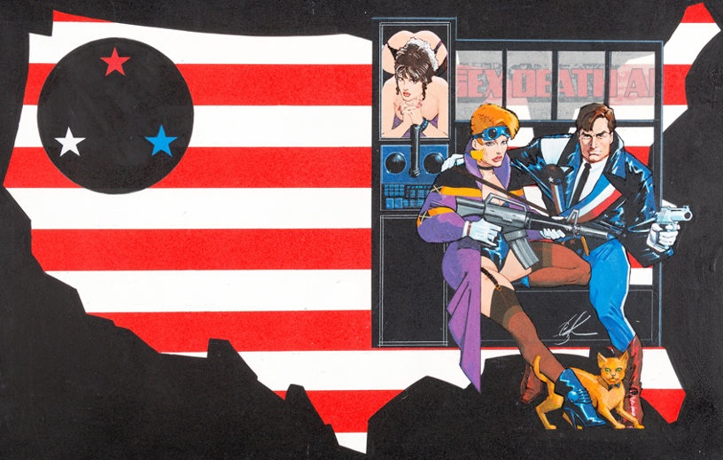 Wraparound cover for American Flagg: Hard Times HC by Howard Chaykin.