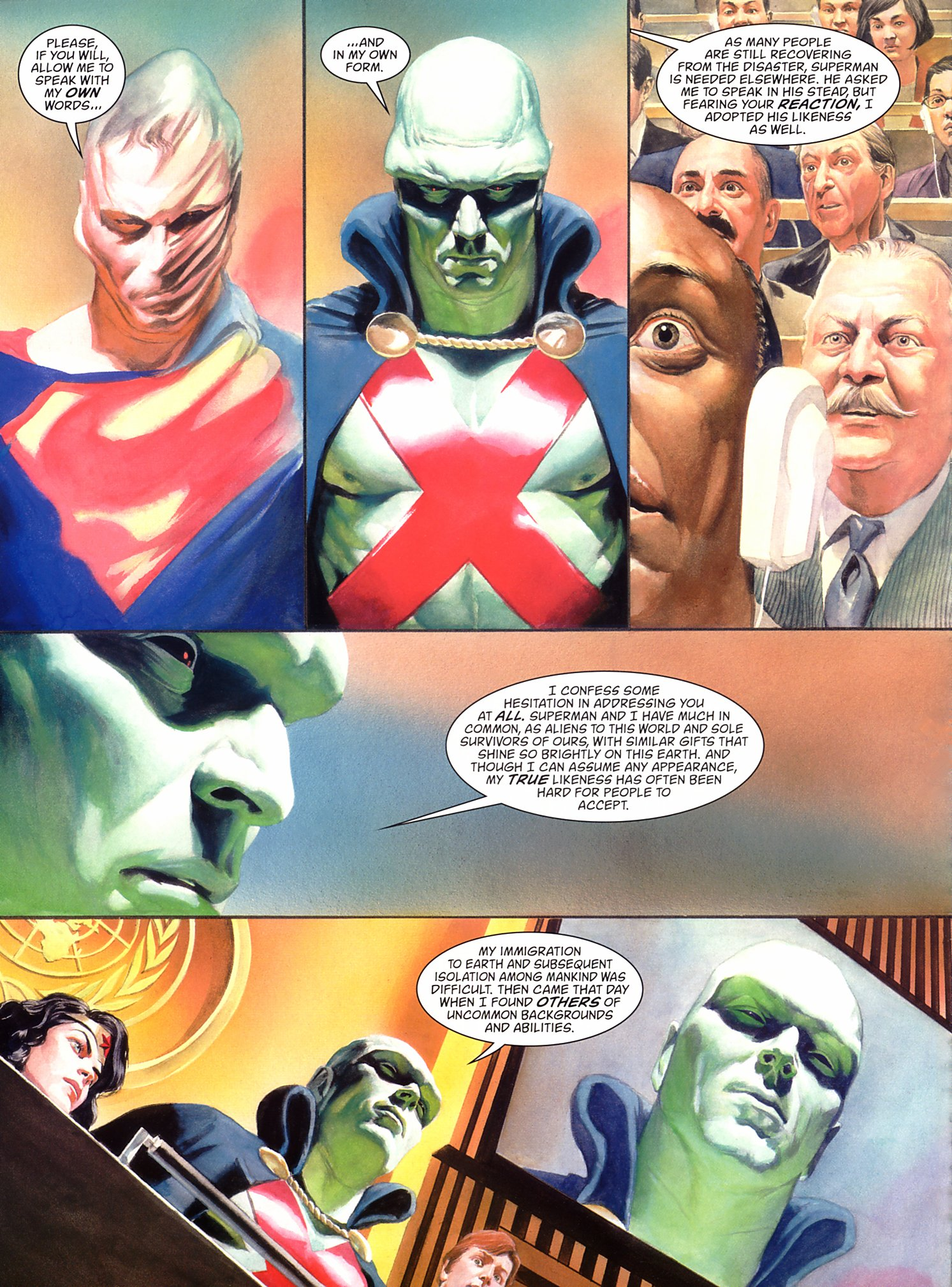 JLA: Liberty and Justice (2003) 1 pg66, art by Alex Ross.