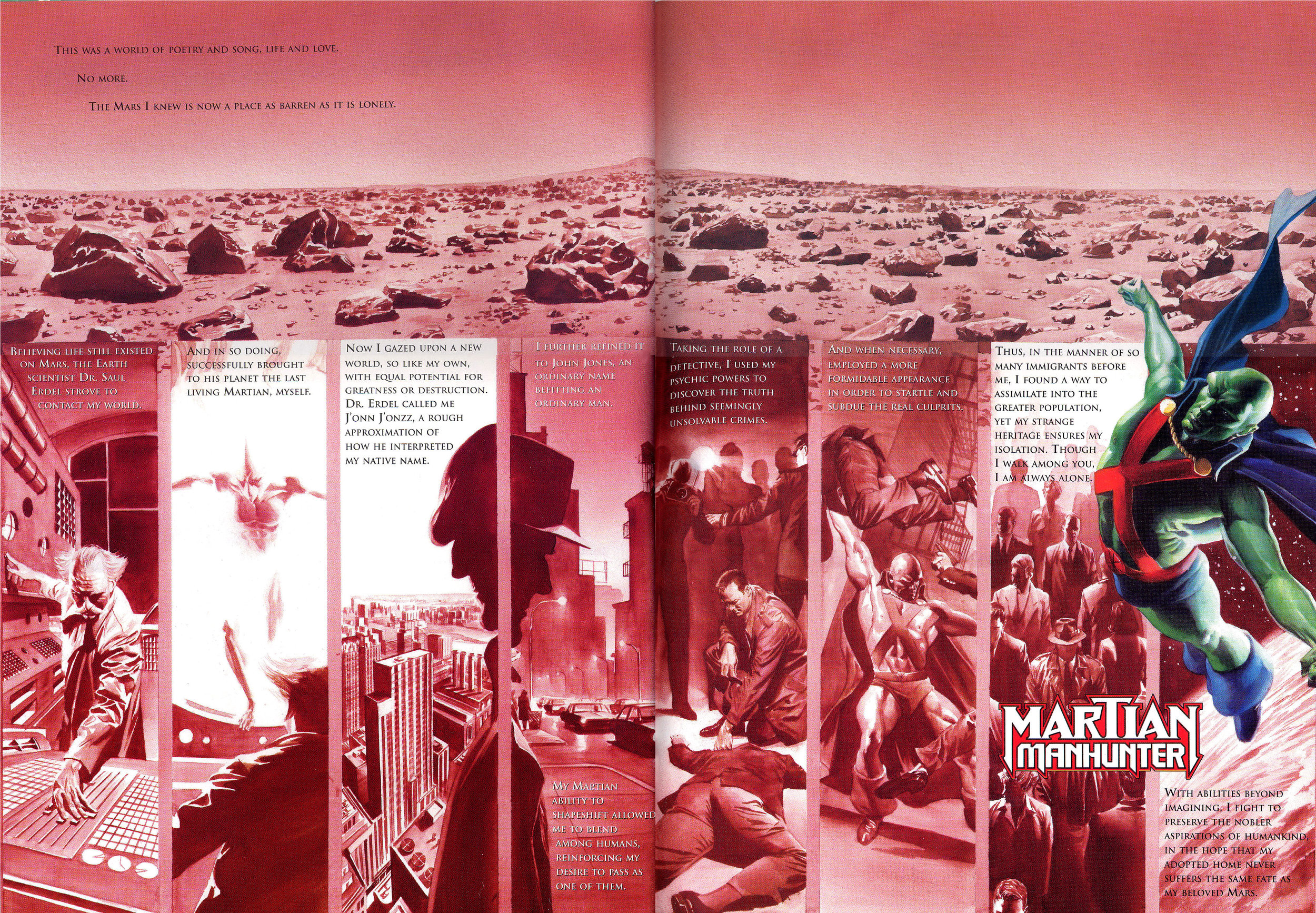 JLA: Secret Origins (2002) Martian Manhunter, written by Paul Dini with art by Alex Ross.