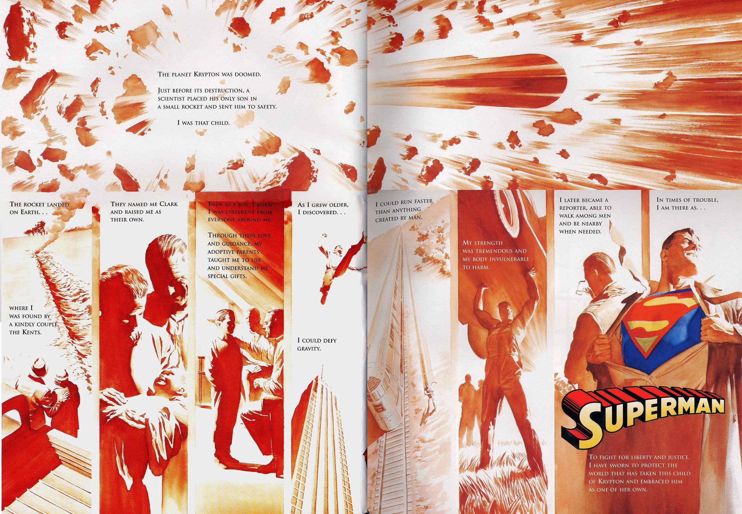 JLA: Secret Origins (2002) Superman, written by Paul Dini with art by Alex Ross.