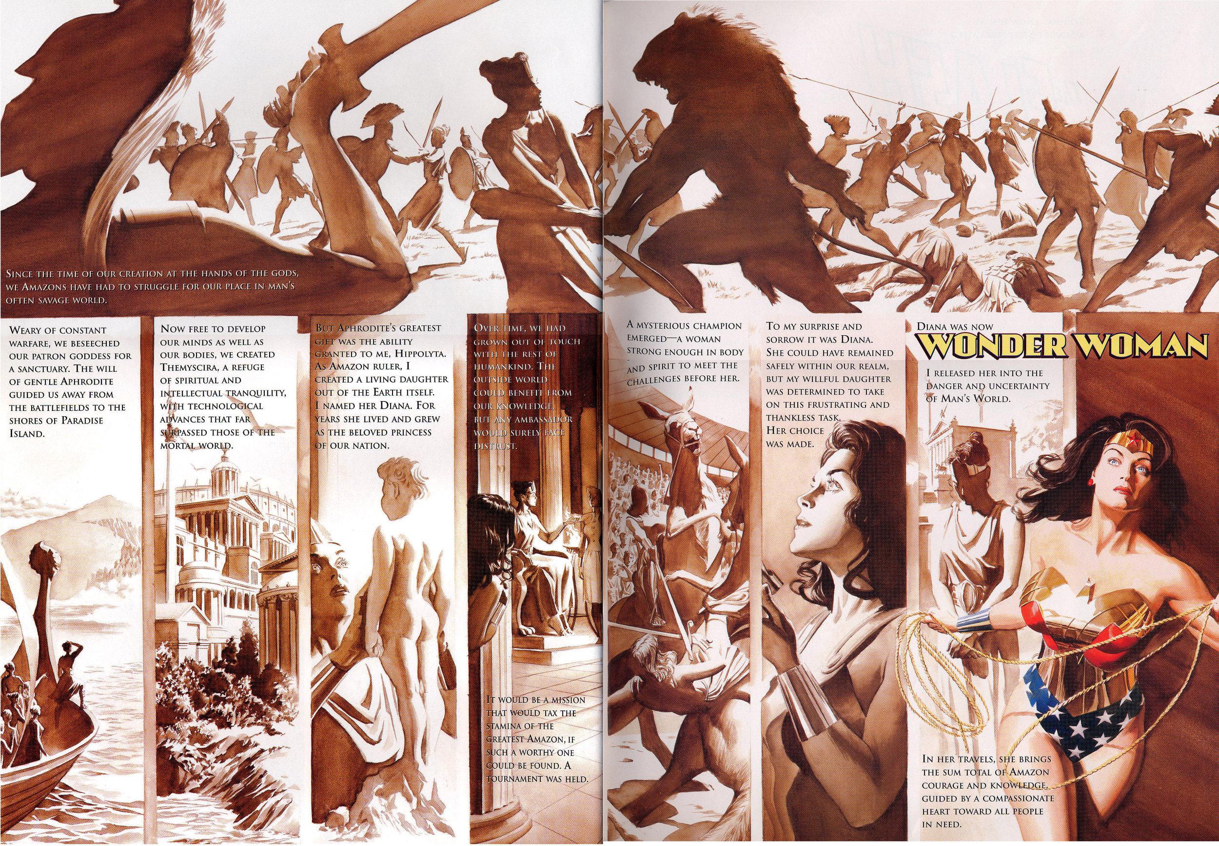 JLA: Secret Origins (2002) Wonder Woman, written by Paul Dini with art by Alex Ross.