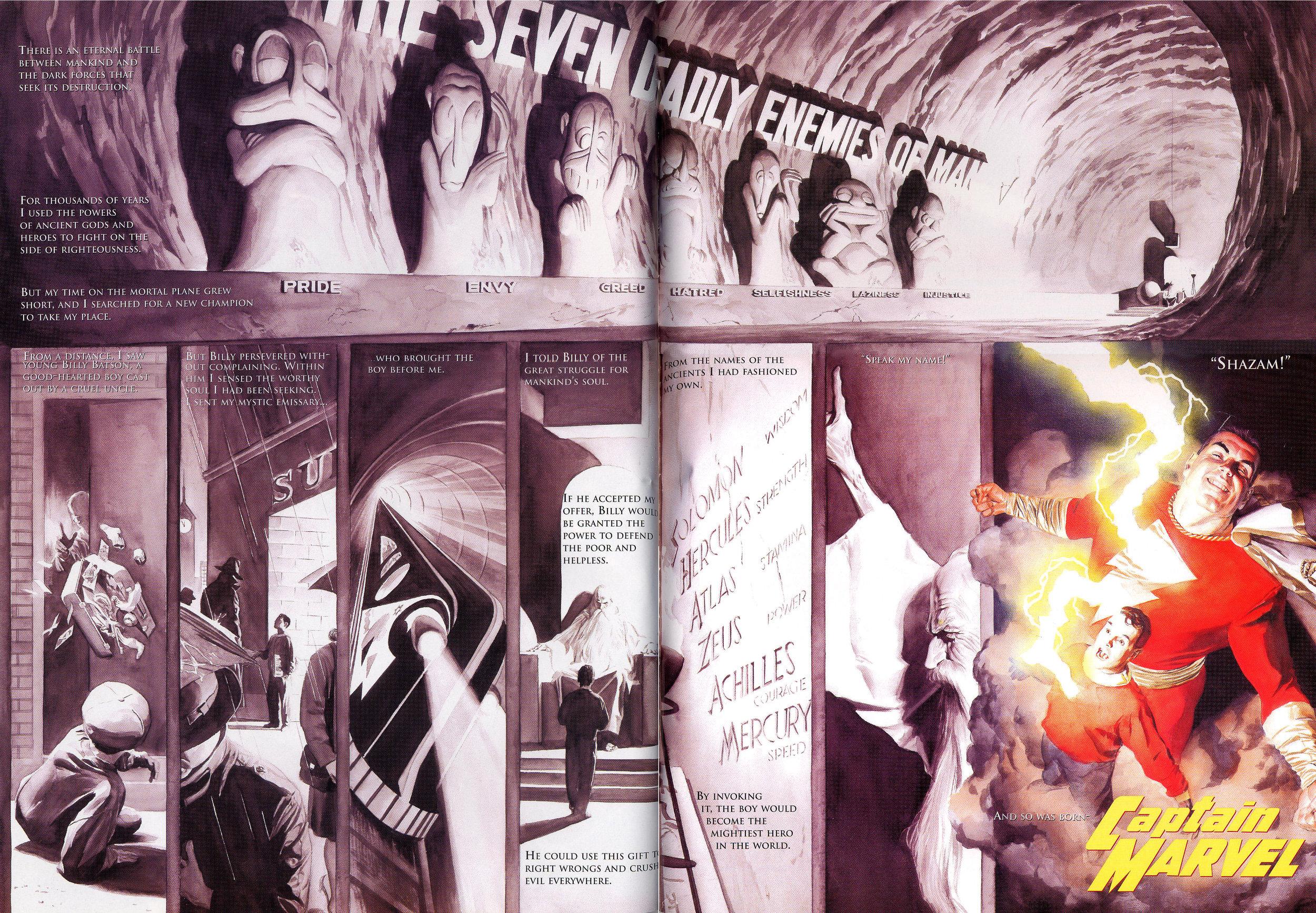 JLA: Secret Origins (2002) Captain Marvel, written by Paul Dini with art by Alex Ross.
