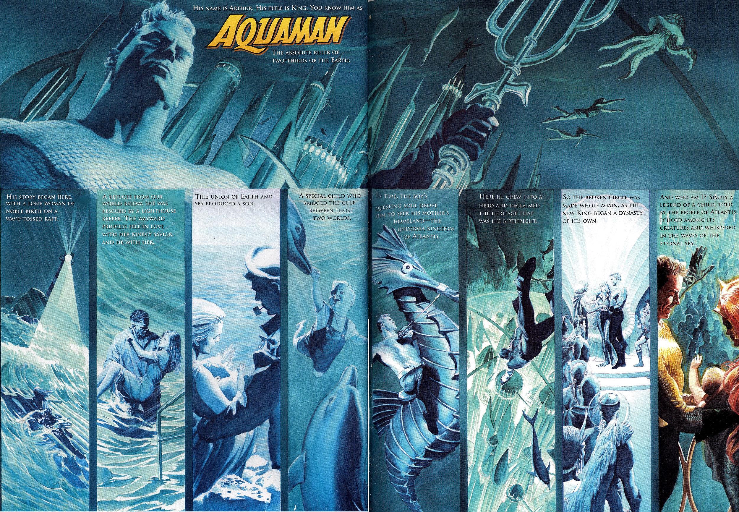 JLA: Secret Origins (2002) Aquaman, written by Paul Dini with art by Alex Ross.