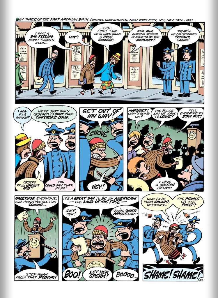 Women Rebel: The Margaret Sanger Story (2013) pg51, by Peter Bagge.