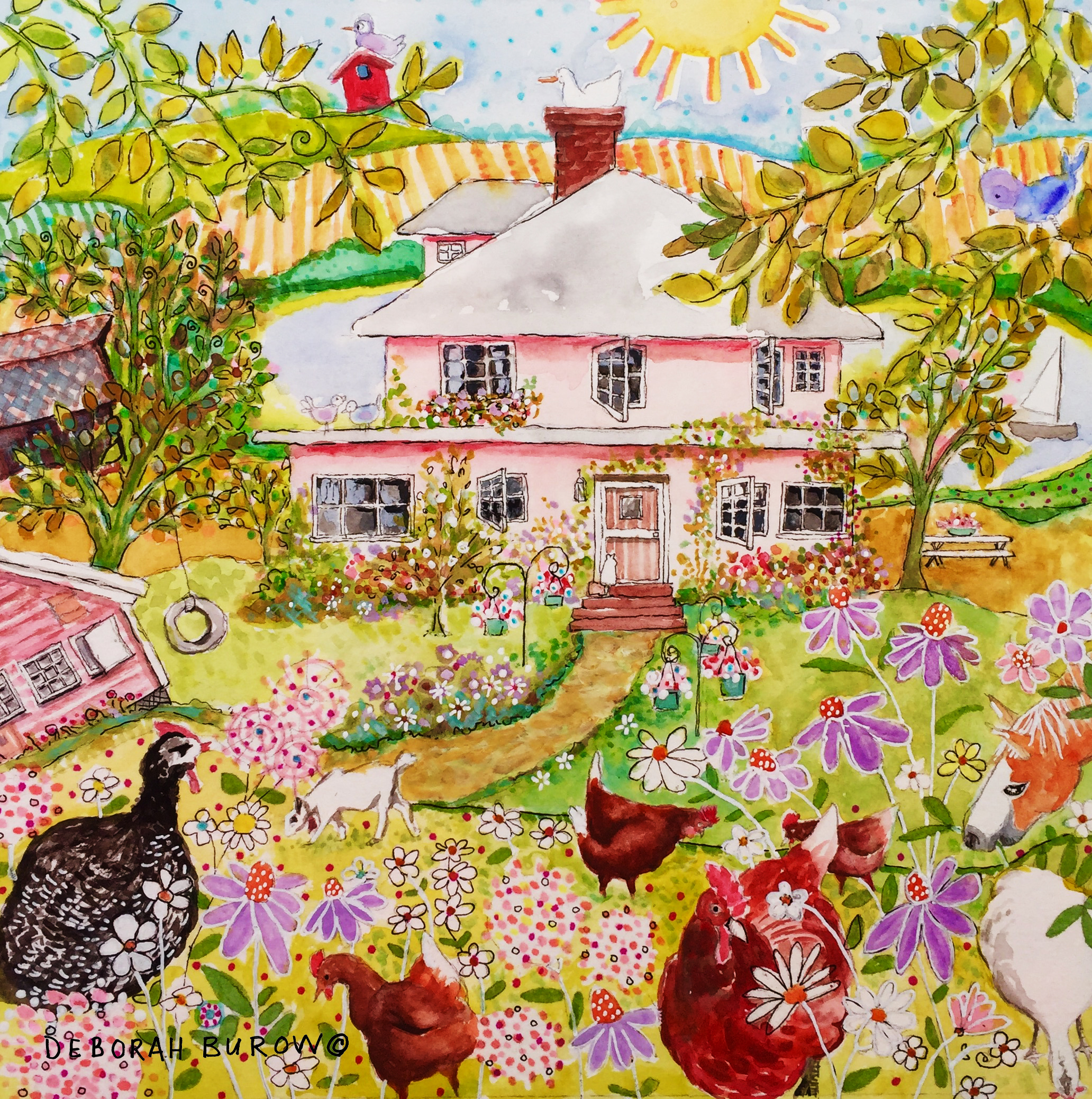 Painting of Mary Kay's home. Original is sold, and prints available. CLICK ON ART.