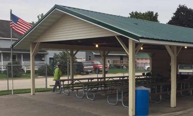 Shelter house in Wauzeka, WI was home for the night. Storms were forecast so we were grateful for roof over our tents.