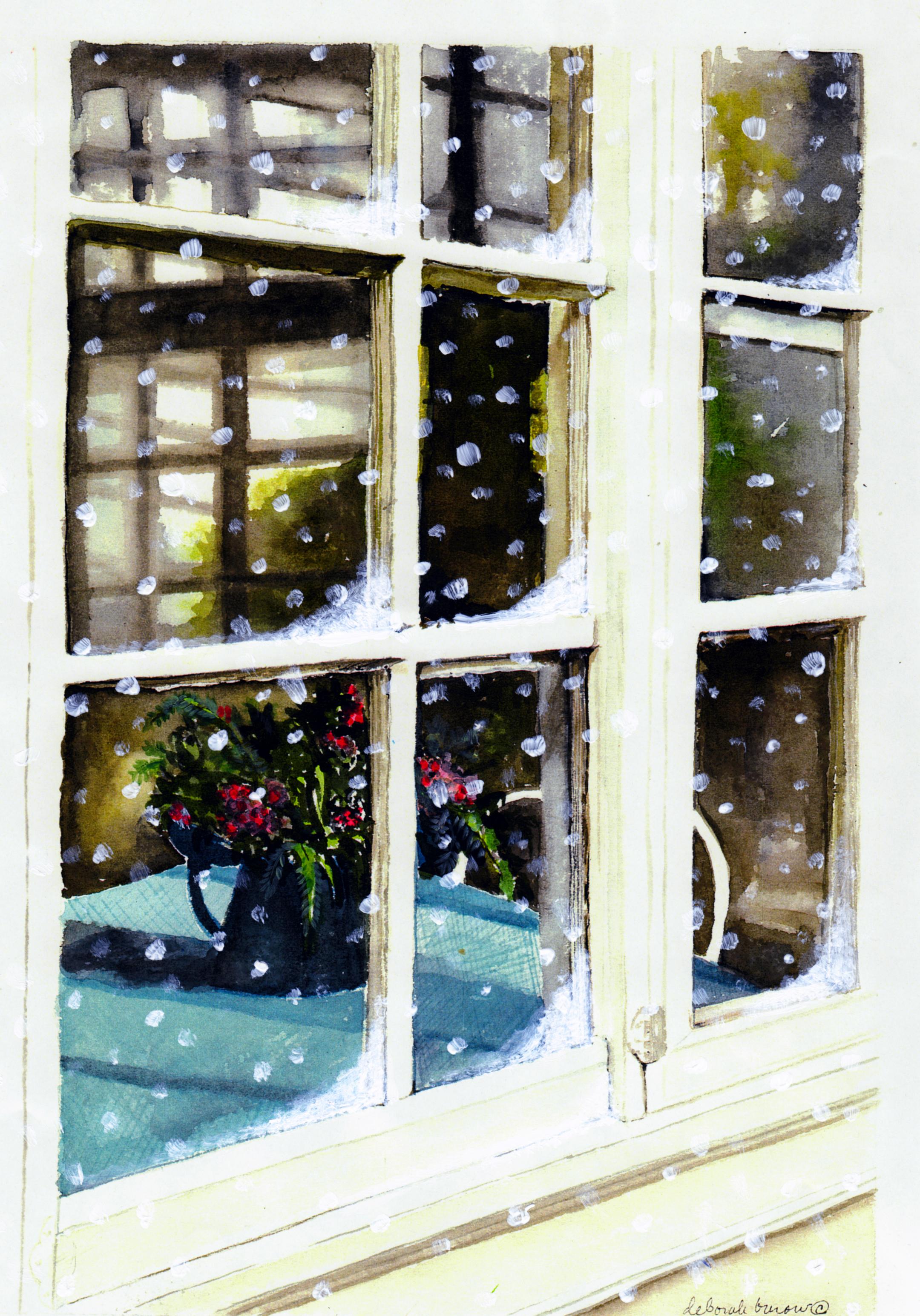 Snowy Inn Window