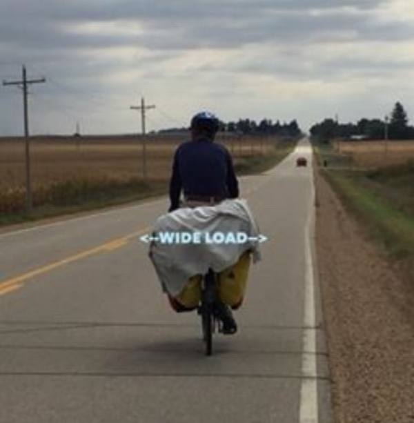 Laughed right out loud as Dave drove past. Definitely needed a WIDE LOAD sign on the back of his bike.