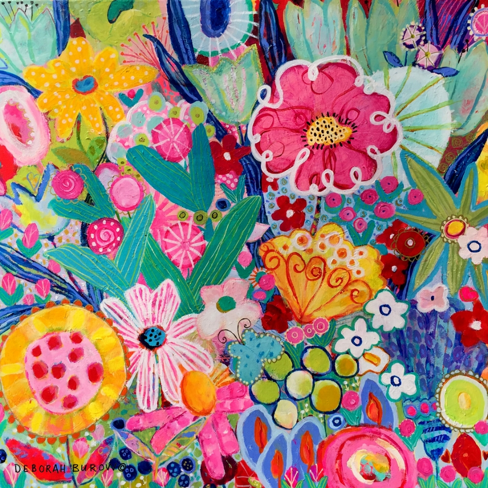"""""""GARDEN OLI0"""" Final art after layers and layers of color and shapes.  CLICK HERE  for more."""