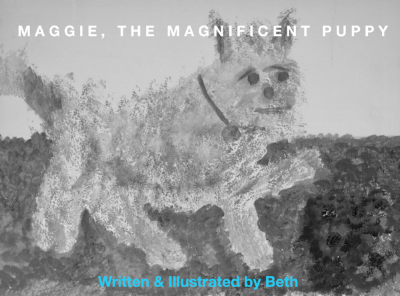 Beth started with a sponged background, and whala! a puppy appeared. Seemed like a natural cover for a children's book. Why not??
