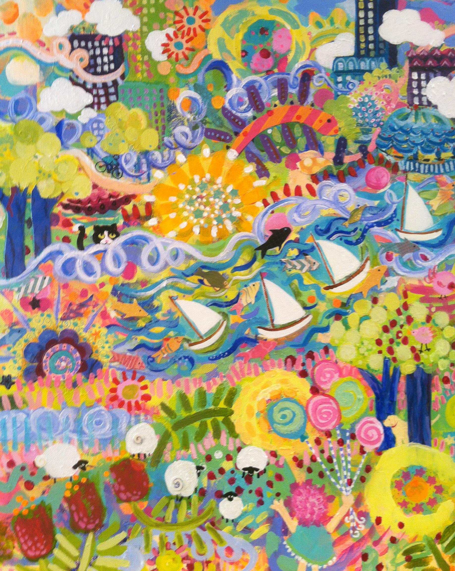 """https://1-deborah-burow.pixels.com/featured/central-park-deborah-burow.html  Central Park 16"""" x 20"""", acrylic with mixed media."""