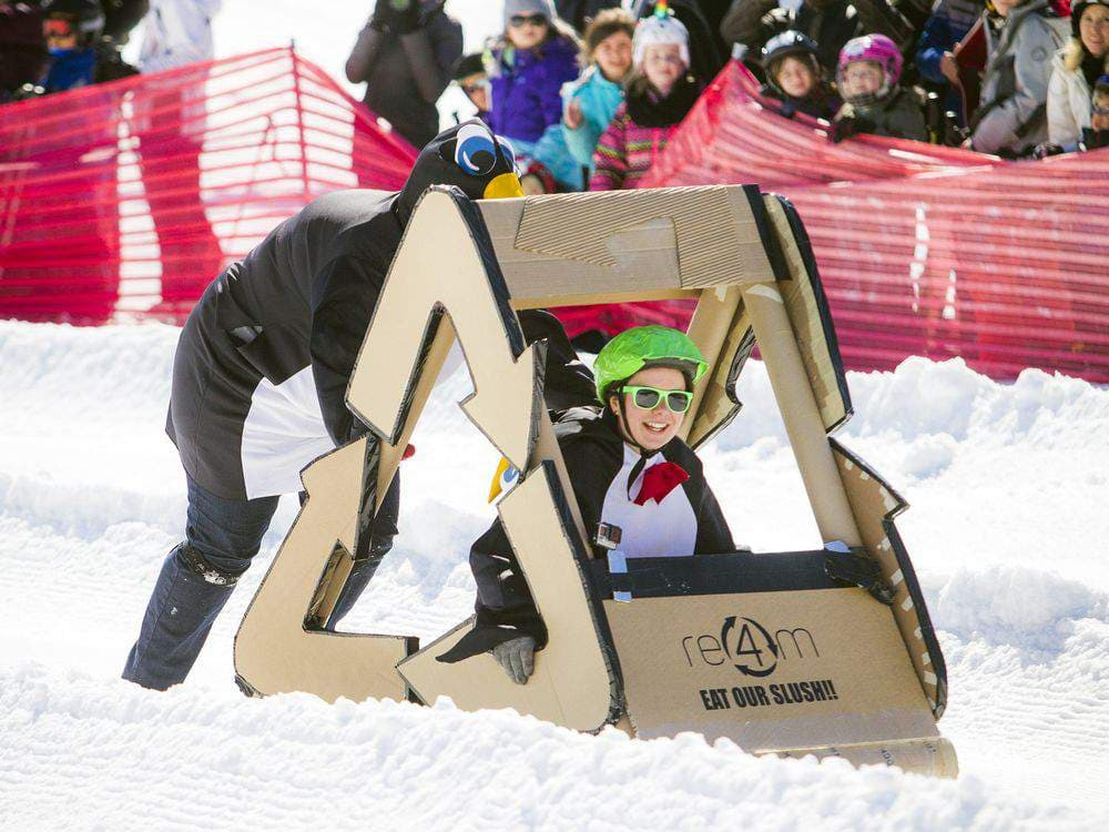 Ashley Fraser / Post Media - The annual cardboard sled derby took place Sunday March 25, 2018 at Camp Fortune. Competitors created their derby sleds with only cardboard, tape, string, garbage bags, glue and some added decorations to make the event colourful.Re4m won the Prize for BEST CONSTRUCTED!See more on the event HERE