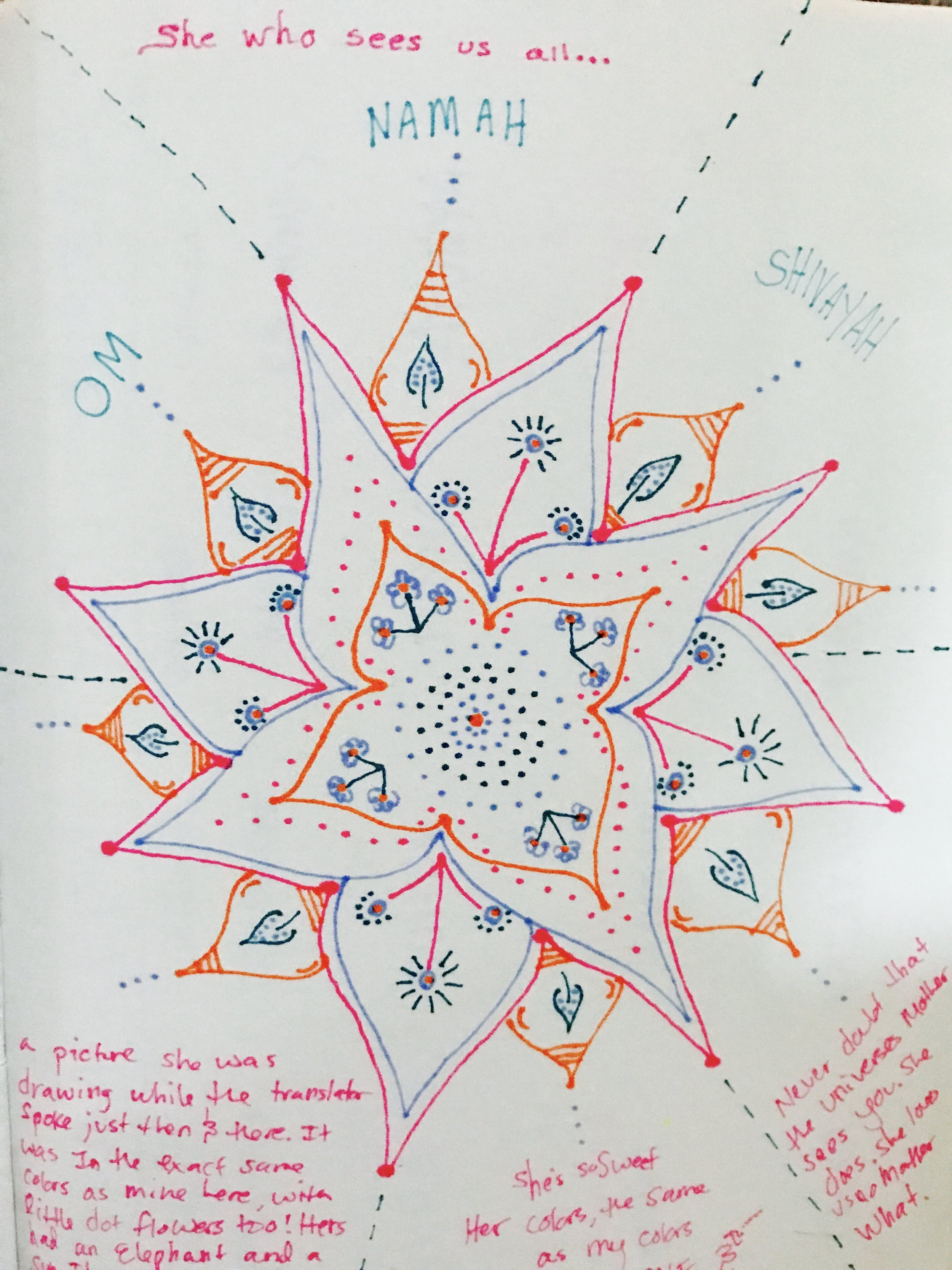 Mandala from my journal, drawn during question and answer time with Amma...
