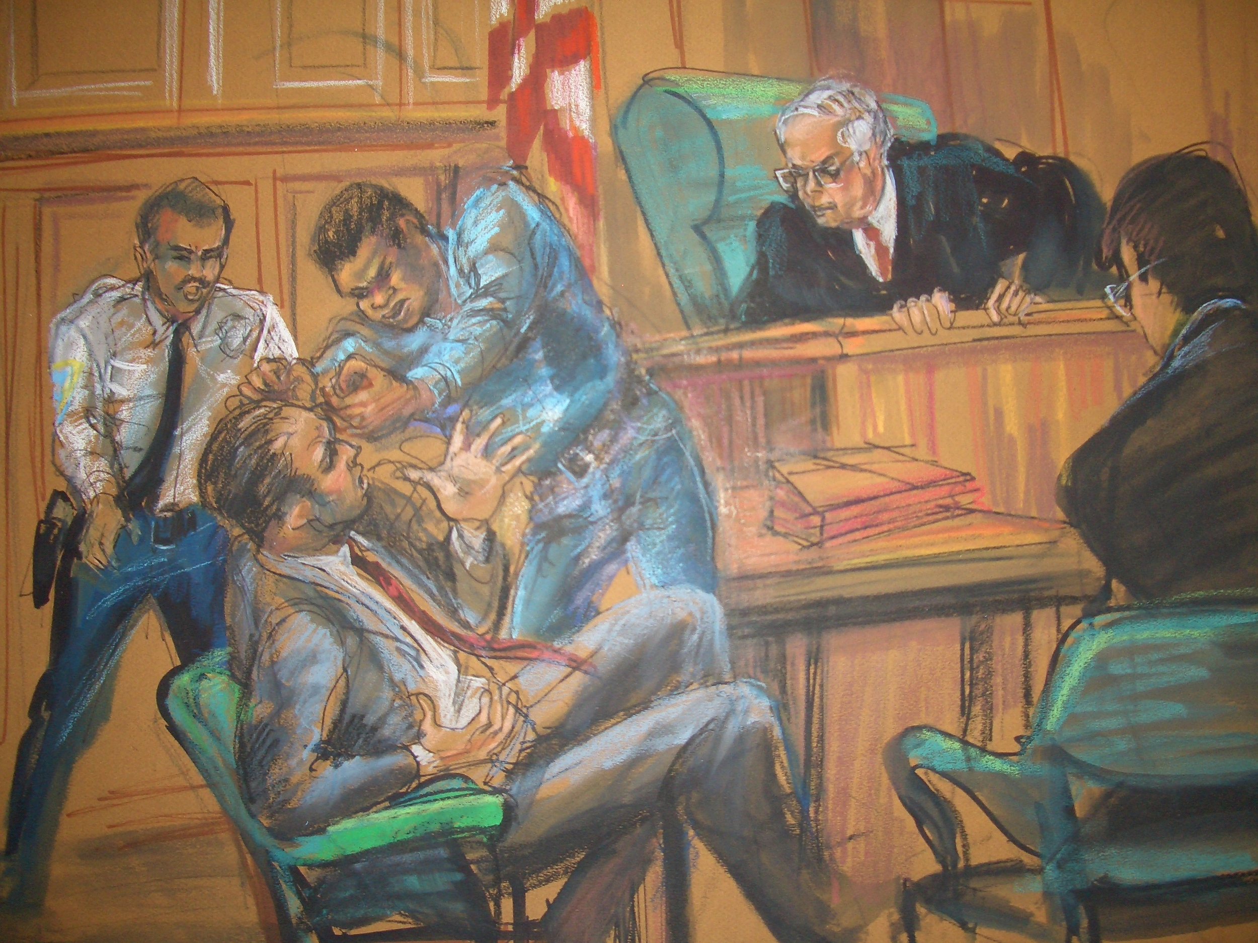A Defendant who did not like the way his attorney was handling his case, punching him. State  Supreme Court 1990