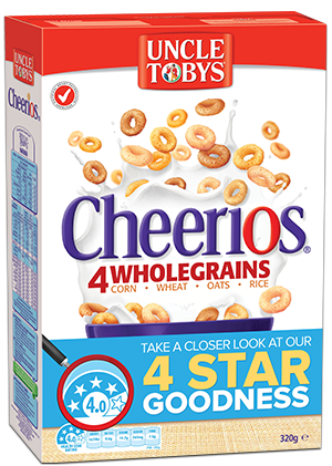 Here we have Uncle Tobys Cheerios cereal which rates 4 stars yet has 3 teaspoons of sugar per serving (12.00g). The 'wholegrain' aspect of this product is only 67% which means33% is sugar andadditives.( Wholegrains (67%)  [Wheat  (33%), Corn (25%),  Oats  (5%), Rice (5%)],  Wheat  Starch, Sugar, Golden Syrup, Sunflower Oil, Salt Blend [Salt, Mineral Sea Salts(508, 511)], Colours (Caramel and Annatto), Acidity Regulator (Trisodium Phosphate).