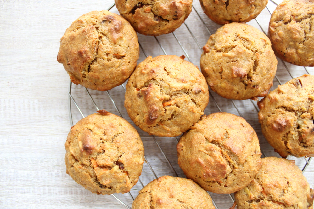 CARROT & APPLE MUFFINS WITH MAPLE RICOTTA FROSTING