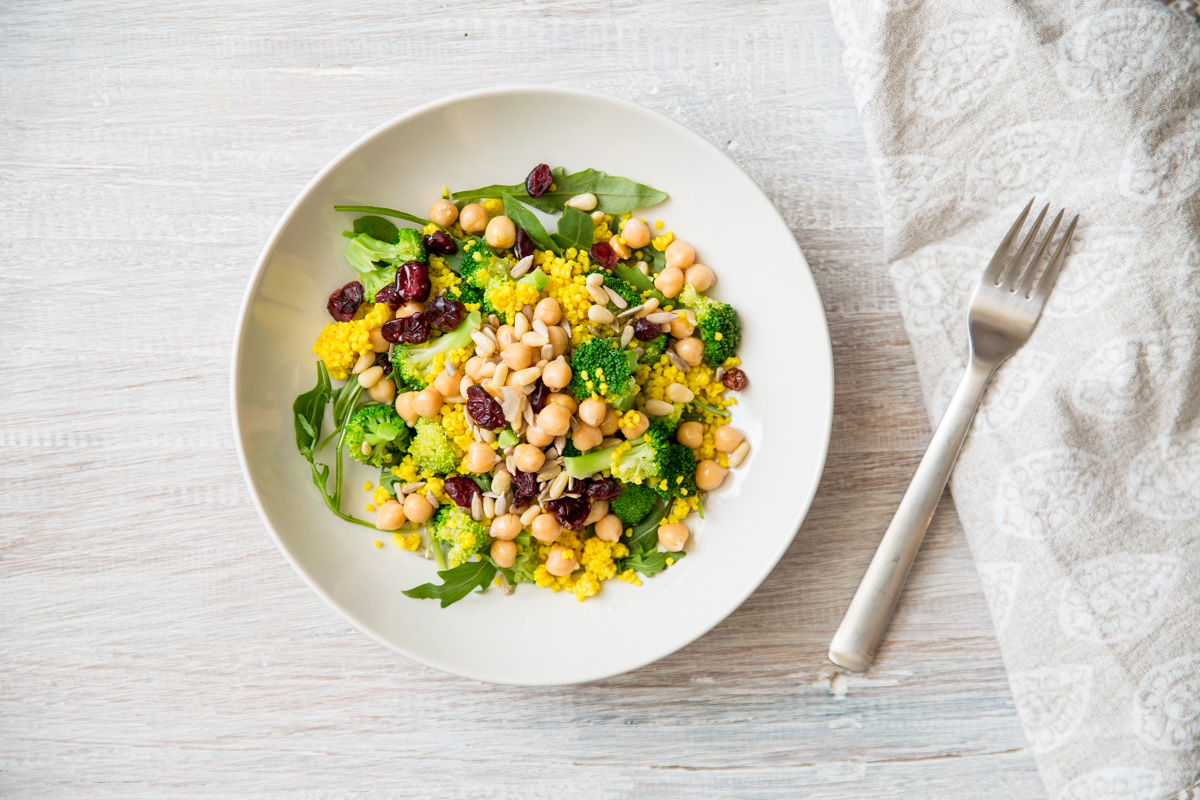 MILLET, CHICKPEA AND BROCCOLI SALAD