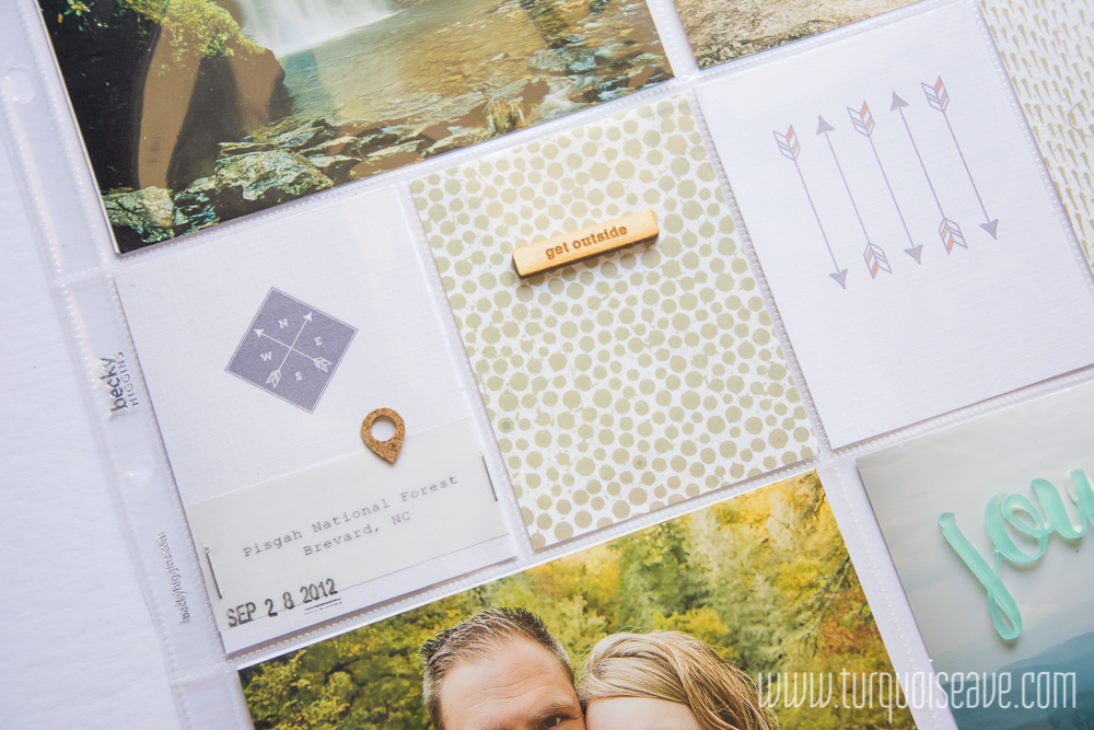 Simple, Easy 12x12 Project Life Layout using the Trailblazer journal card set by Peppermint Granberg, One Little Bird Designs and featuring wood veneer and acrylic embellishments from Color Cast Designs. Links to all products used in the blog post!