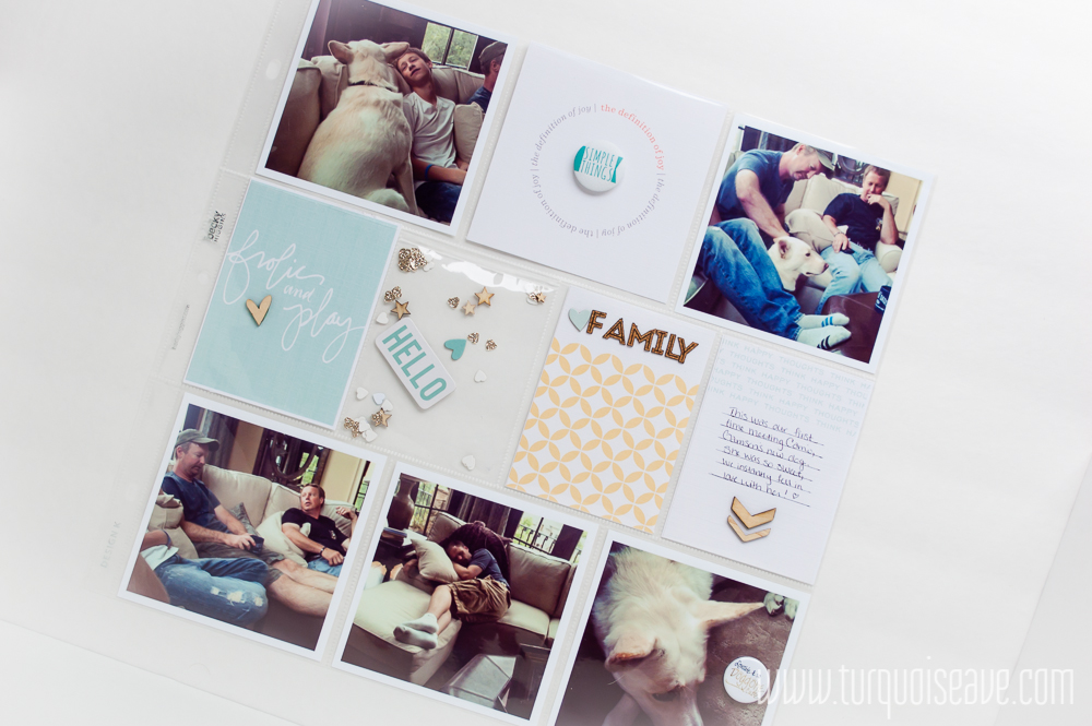 """Simple, elegant 12x12 Project Life layout by Mandy Elliott, Turquoise Avenue featuring """"Frolic"""" by One Little Bird, gold confetti, wood veneer and mini flair, plus a link to the new We R Memory Keepers Fuse Tool!"""
