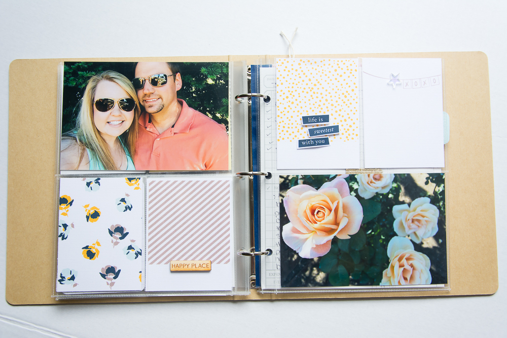 #LittleSummerJOY - a FREE class/challenge for memory keepers. Here is a 6x8 Project Life spread by contributor Mandy Elliott of Turquoise Avenue, featuring the Scoop journal cards from One Little Bird Designs, available on the Lily Pad store along with a wood veneer from Color Cast Designs..