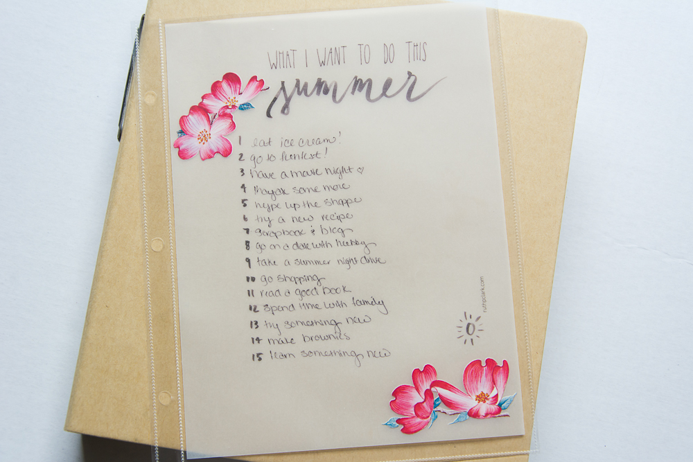 #LittleSummerJOY - a FREE class/challenge for memory keepers. Here is a 6x8 Project Life spread by contributor Mandy Elliott of Turquoise Avenue, using a free printable found on Pinterest. Link in post.