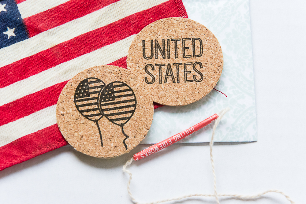 Americana, a patriotic, July 4th themed cork sticker set from the Shoppe at Turquoise Avenue on Etsy.  These cute adhesives lay flat and are great for Project Life, pocket scrapbook pages, cards, and other paper crafts!