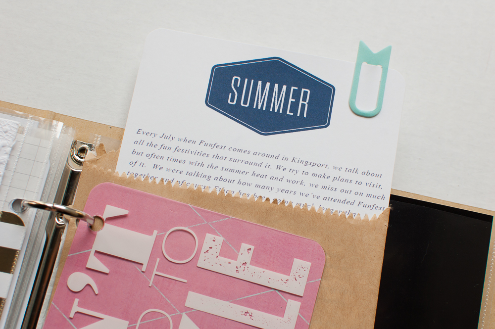#LittleSummerJOY | Hidden Journaling in this Project Life album from Turquoise Avenue featuring desings by One Little Bird.