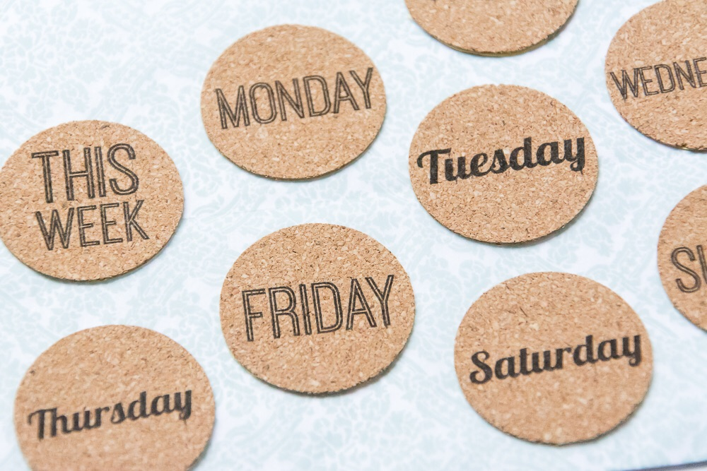 Weekdays | Set of 9 day of the week cork stickers from the Shoppe at Turquoise Avenue. Adorable embellishment for Week In the Life!!