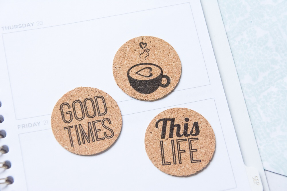 Caption Today Add On | Set of 9 day of the week cork stickers from the Shoppe at Turquoise Avenue. Adorable embellishment for Week In the Life!!