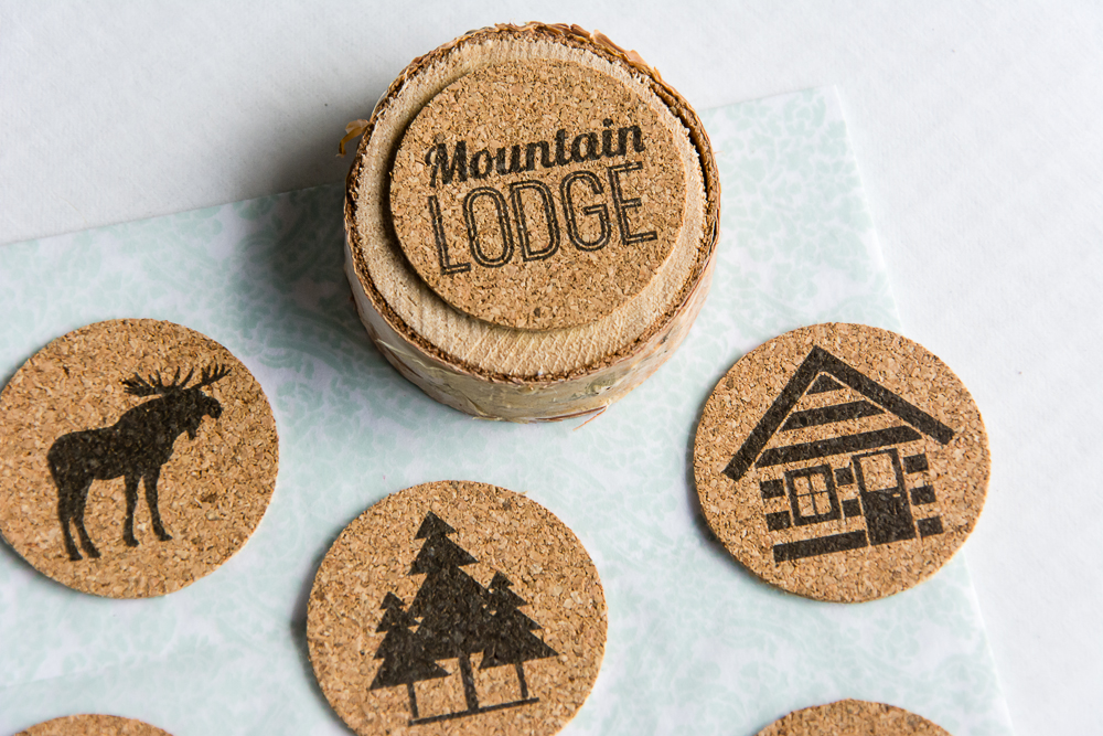 the Great Outdoors  |  Flat, cork stickers perfect for scrapbooking featuring cabin life, moose, bear, and a woodsmen theme.