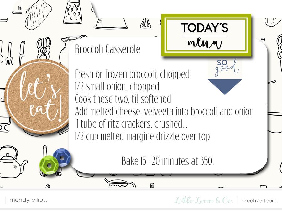 Broccoli Casserole - Delicious, Fall 4x6 Digital Recipe Cards - Great Idea for iPad Kitchen Recipes via Turquoise Avenue