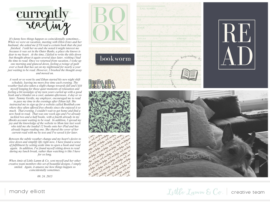 6x8 Book Lover's Digital Project Life Layout by Mandy of Turquoise Avenue featuring Little Lamm & Co. Designs