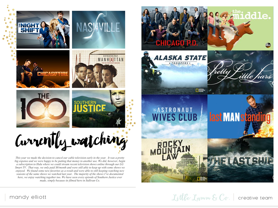 6x8 Digital Project Life layout - documenting the TV shows and movies we watch using designs and templates by Little Lamm & Co.