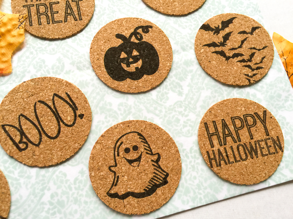 Halloween theme, cork stickers perfect for scrapbooking, Project Life, paper crafts, and cards! Available in the Etsy Shoppe at Turquoise Avenue!