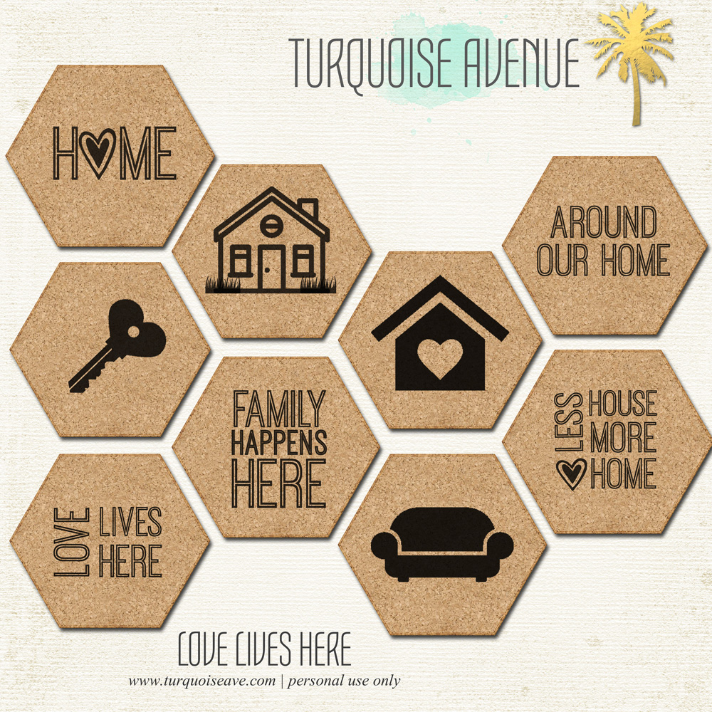 Digital, Home theme cork stickers from the Shoppe at Turquoise Avenue for the #LoveWhereYouLive class by LittlePaperProjects.com.  Perfect for scrapbooking, Project Life, and other paper crafts!