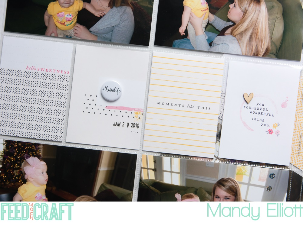 12x12 Project Life Layout in Under 30 Minutes! Inspiration by Mandy Elliott, Turquoise Avenue featuring One Little Bird Designs and Mini Flair by Feed Your Craft!