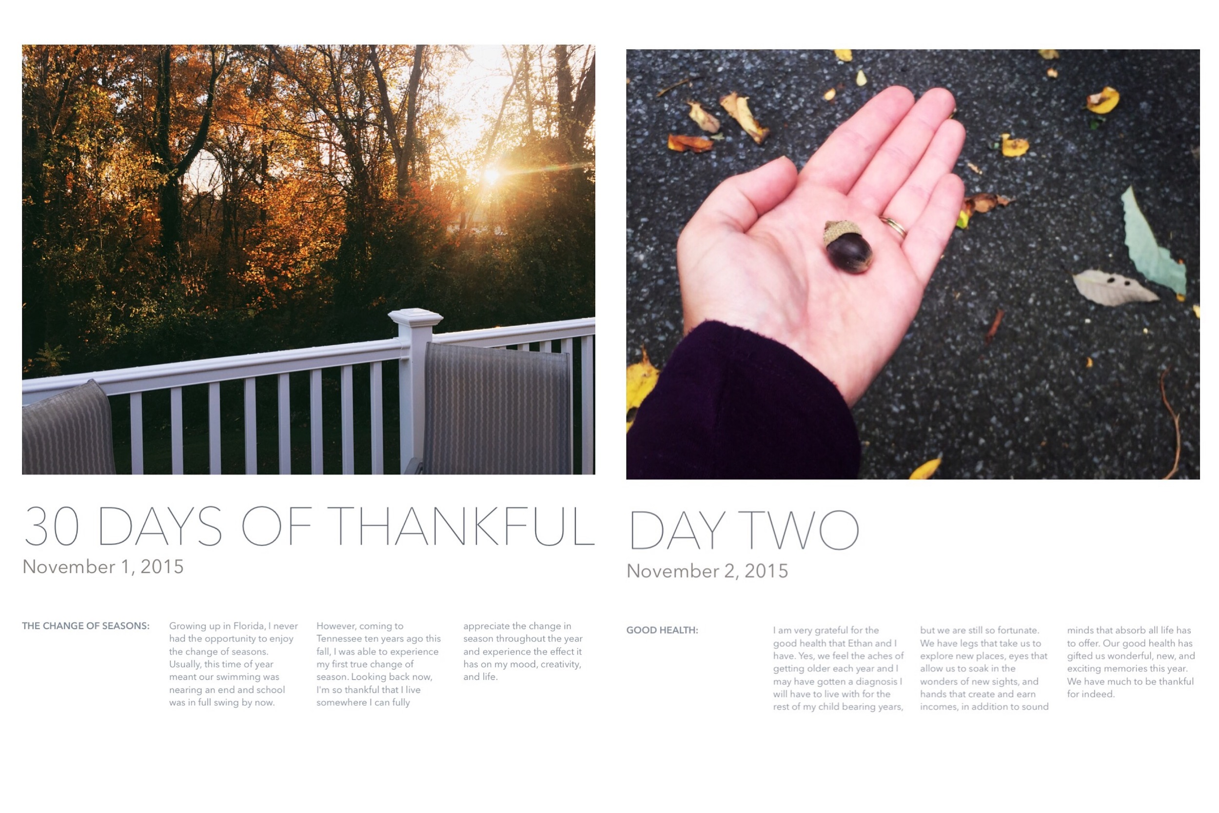 30 Days of Thankful Inspiration by Mandy of Turquoise Avenue - document a daily gratitude each day in November using an iPhone and the Apple Pages app!