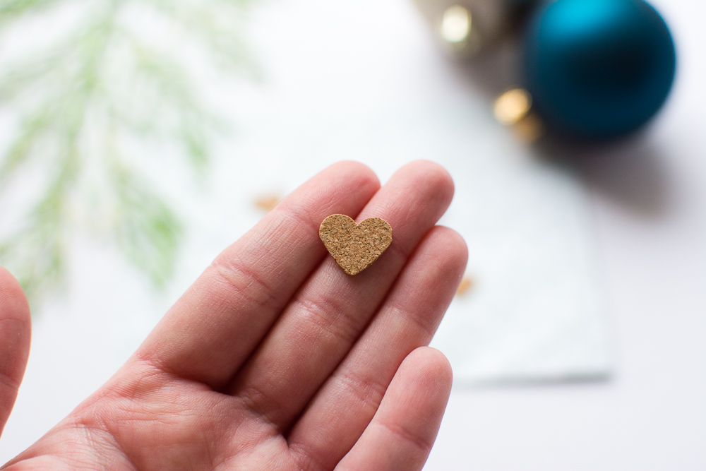 Little heart shaped cork embellishments/stickers from Turquoise Avenue - perfect for December Daily, Project Life, scrapbooking, and craft projects.