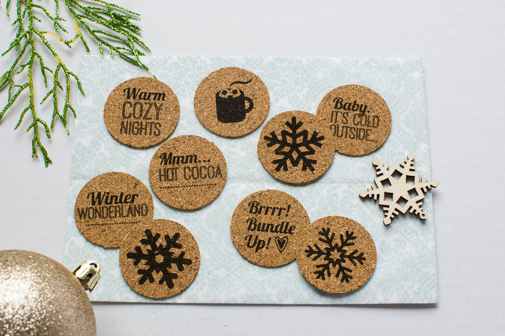 Winter theme cork embellishments/stickers from Turquoise Avenue - perfect for December Daily, Project Life, scrapbooking, and craft projects.