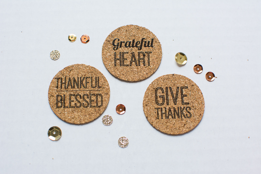 Thanksgiving theme cork embellishments/stickers from Turquoise Avenue - perfect for Thankful 30, Project Life, scrapbooking, and craft projects.