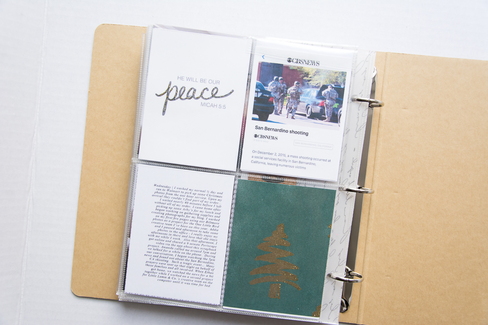 2015 December Daily® | A 6x8 Pocket Page Holiday pocket page scrapbook by Turquoise Avenue. Visit the post for a link to all products used!Peace journal card by Danielle Young Designs