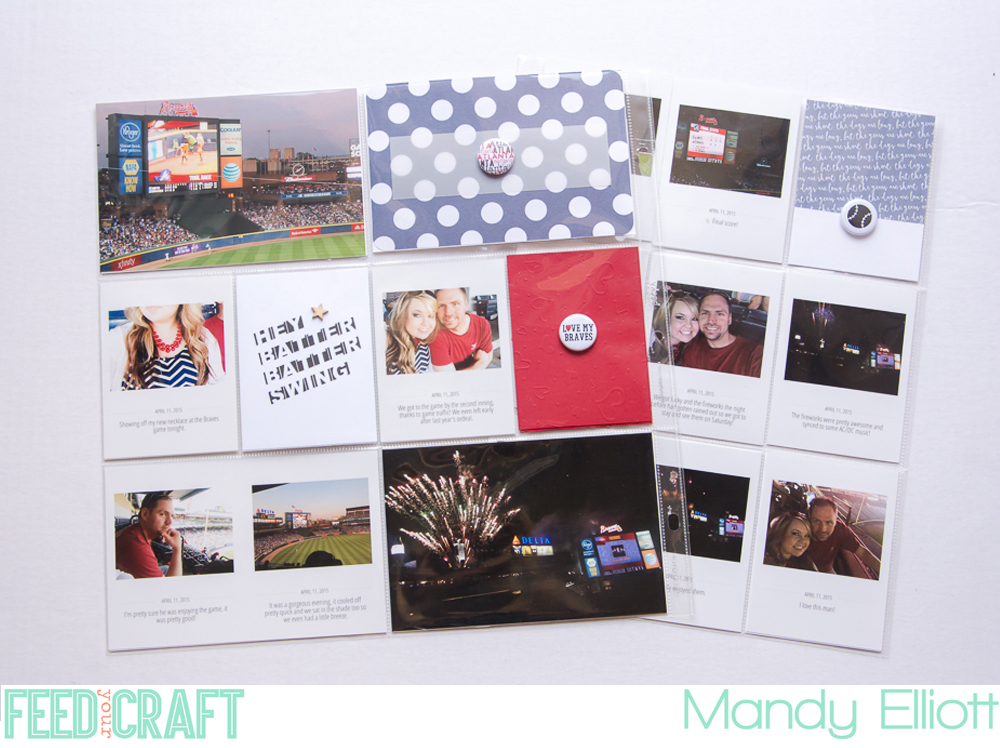 Feed Your Craft Creative Team Layout by Mandy of Turquoise Avenue - a fun, 12x12 pocket page scrapbook page using baseball/gameday themed mini flair embellishments.