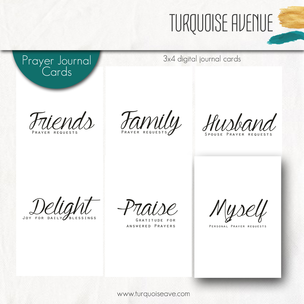 Turquoise Avenue Prayer Journal Cards - set of six digital cards to print.